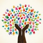 tree made of hands graphic